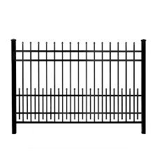 mainstreet aluminum fence 3 4 in x 1 5 ft x 6 ft black aluminum