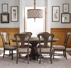 kincaid furniture greyson seven piece dining set with grant round