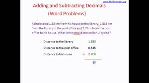 word problem addition and subtraction adding subtracting decimals word problems