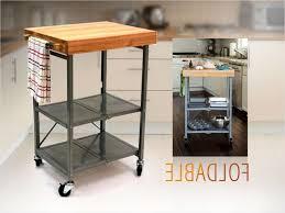 origami butcher block cart kitchen island bar on wheels folding