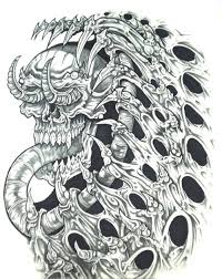 biomech skull horror design http tattoosaddict com