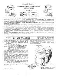 briggs u0026 stratton lawn mower 130900 to 130992 user guide