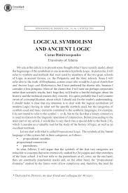 logical symbolism and ancient logic costas dimitracopoulos