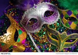 purple mardi gras assorted mardi gras or carnivale mask on a purple background stock