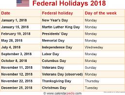 2018 calendar usa federal web e calendar