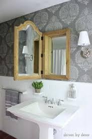 Diy Powder Room Remodel - our stenciled bathroom budget makeover reveal medicine cabinets