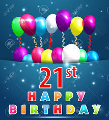 21 year happy birthday card with balloons and ribbons 21st