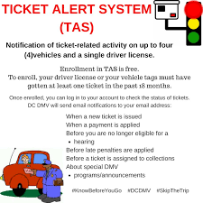 dc dmv on sign up for the ticket alert system tas today