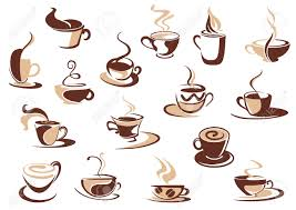 coffee cup icons in shades of brown with doodle sketches of