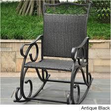 Resin Wicker Rocking Chair International Caravan Valencia Resin Wicker Steel Frame Rocking