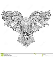 eagle owl antistress coloring page stock vector image