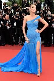 blake lively pregnant sequin blue one shoulder celebrity prom