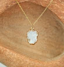 white gold crystal necklace images Druzy necklace raw quartz necklace raw crystal necklace gold jpg