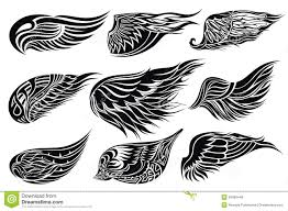 set sketches of wings tattoo design royalty free stock photos