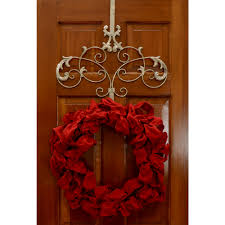 decor scroll wreath hanger silver with flower ornament and