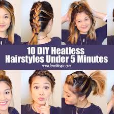 diy hairstyles in 5 minutes 10 diy heatless hairstyles under 5 minutes