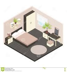 plan chambre a coucher intérieur isométrique de la chambre à coucher 3d illustration de
