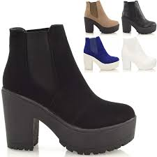 womens size 12 casual boots chunky cleated sole platform womens block heel biker