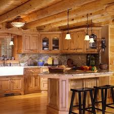 shopping for the right rustic kitchen cabinets for a log cabin
