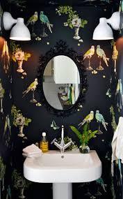 bird wallpaper home decor ways to wallpaper a small powder room wearefound home design
