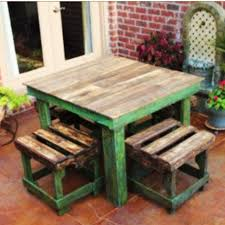 pallet wood farm style table stool chair patio deck lounge