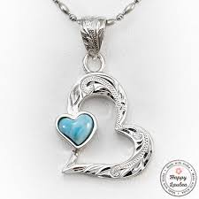 necklace stone setting images 925 sterling silver melted heart motif pendant with larimar stone sett jpg