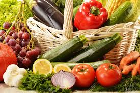 fruit and vegetable basket fruits and vegetables in wicker basket stock photo picture and