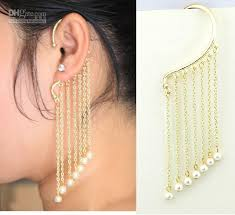 one ear earring 2017 gold pearl tassel personality one sided ear cuff hanging