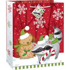 gift bags christmas large woodland christmas gift bag walmart