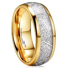 Meteorite Wedding Ring by King Will Meteor 8mm 14k Gold Plated Domed Tungsten Carbide Ring