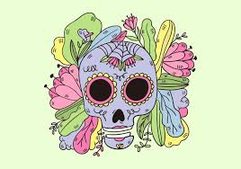 sugar skull with leaves and flowers culture