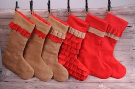 wholesale blanks christmas stocking burlap ruffle santa stockings