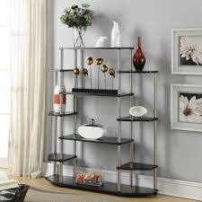 corner ladder display bookcase made of wood in black finished