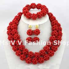necklace with beads design images African beads jewelry set 2018 new design handmade red rhinestone jpg