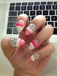 rhinestone and bows nails pictures photos and images for