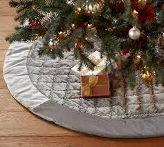 shiny velvet quilted tree skirt gray pottery barn