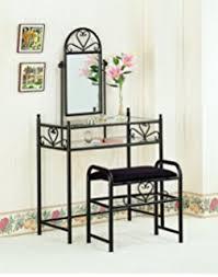 glass bedroom vanity amazon com black metal bedroom vanity with glass table bench set