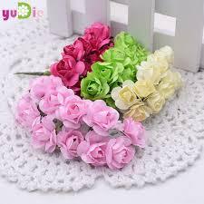 bouquet diy 12pcs lot 1 5cm mini paper rose flowers bouquet wedding decoration