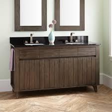 teak double vanity for rectangular undermount sinks dark gray wash