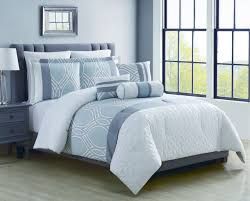 Blue Bed Set 8 Piece Madlyn Ice Blue White Comforter Set