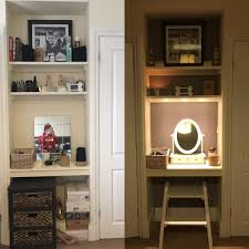 transformed a small alcove in between wardrobes to make a dressing
