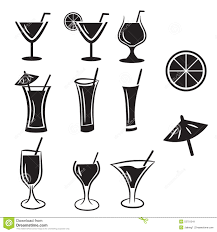 cocktail clipart black and white set of cocktail vector icons stock vector image 53701541