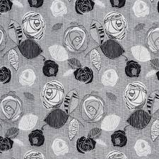 silver roses black and silver contemporary roses metallic upholstery fabric by