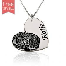 custom heart necklace customized heart pendant fingerprint necklace with engraved name