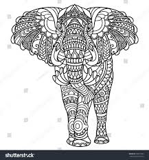 elephant coloring book adults stock vector 638013382 shutterstock