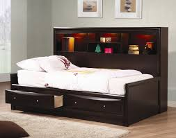 bedroom black wooden cheap daybeds with hutch and lights for home