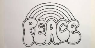 how to draw with a pencil the word peace step by step