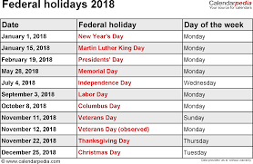 2018 calendar with holidays free excel templates