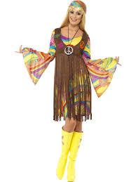 ladies hippy costume 60s 70s groovy hippie fancy dress womens