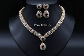 real stone necklace images 18k real gold filled nigerian wedding african costume statement cz jpg